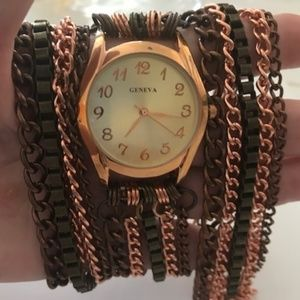 Vintage Light and Dark Copper Chain Wrap Watch